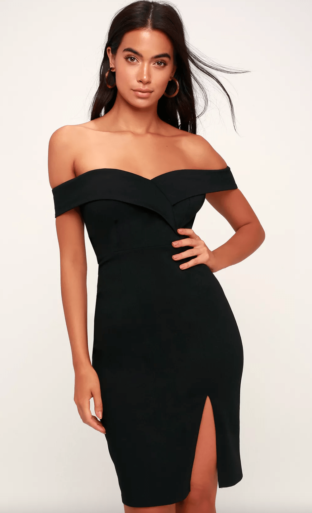 Off-the-shoulder chic black dress from Lulu's