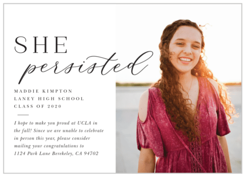 She Persisted graduation announcement