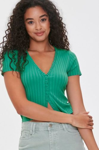 Forever 21 Green Ribbed Ruffle Trim Top