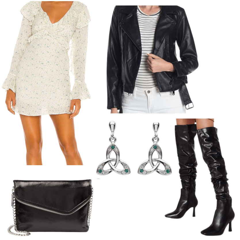 A Dublin outfit, with a short dress, leather jacket, earrings, thigh boots, and black purse.