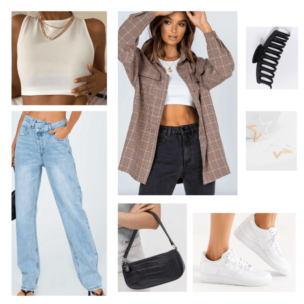 Shoulder bag trend outfit idea: Wide leg jeans, Nike sneakers, white crop top, oversized flannel, star earrings, claw clip
