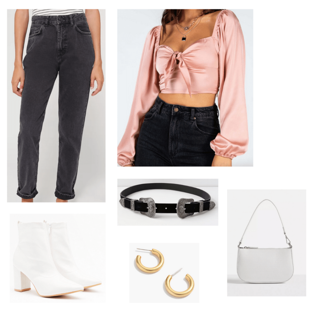 Outfit idea for wearing a mini shoulder bag: High waisted black washed jeans, pink satin crop top, white boots, western belt, mini bag, hoop earrings