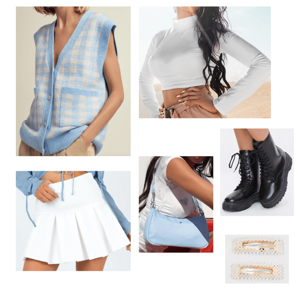 Cute shoulder bag trend outfit idea: White pleated mini skirt, white long sleeve crop top, baby blue sweater vest, baby blue mini bag, chunky boots
