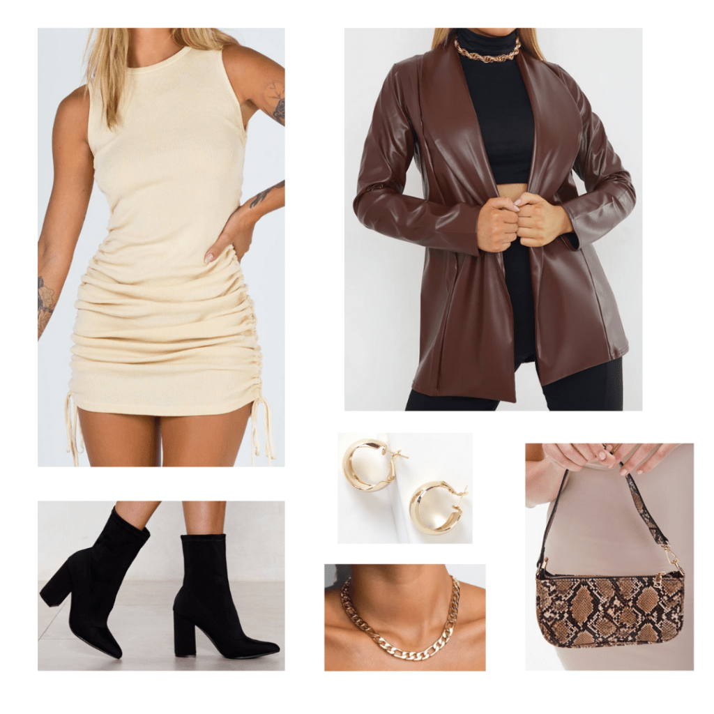 How to wear a mini shoulder bag for a night out: Trendy outfit idea with cream mini dress, oversized leather blazer, black ankle boots, chunky chain necklace, gold hoops, snakeskin mini shoulder bag