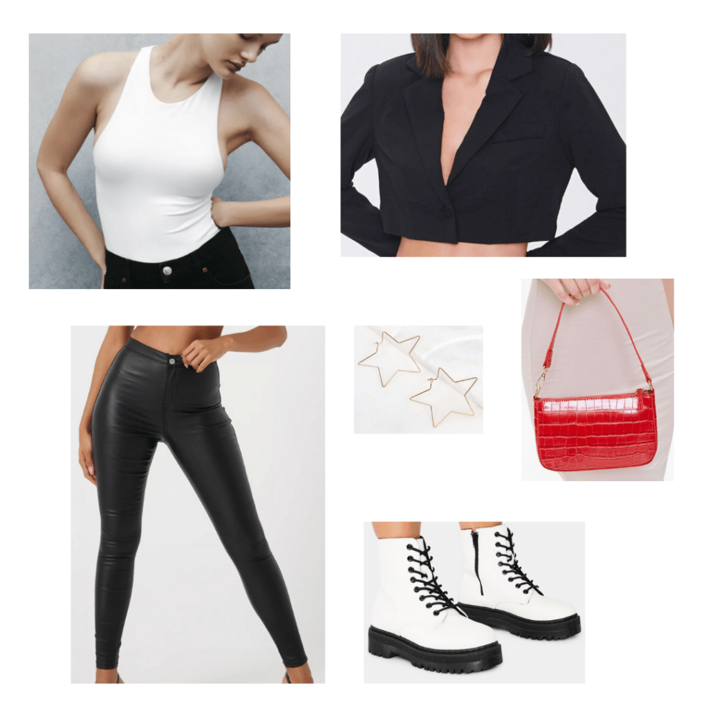 Cute outfit idea with a mini shoulder bag: White seamless bodysuit, cropped blazer, black leather leggings, white combat boots, red snakeskin mini purse, star earrings